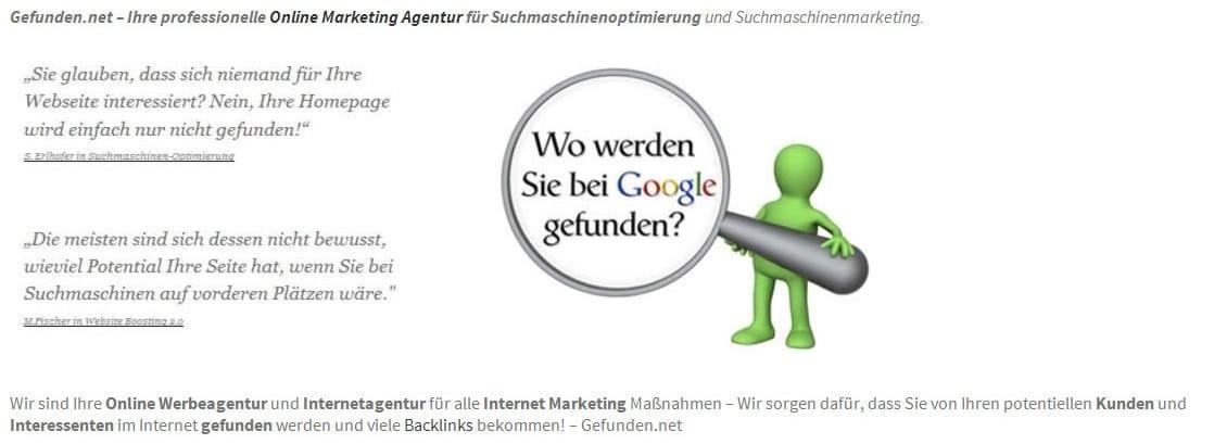 Gefunden.net Werbeagentur & Internetagentur: Backlinkaufbau