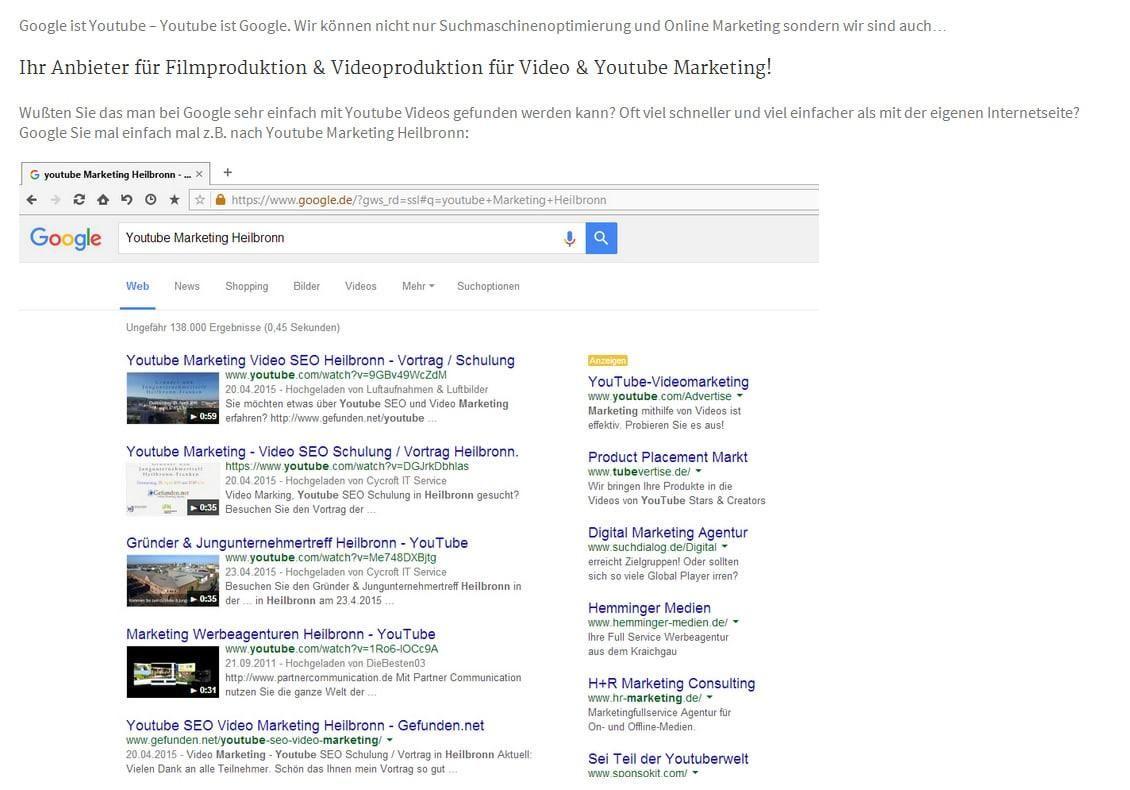 Filmproduktion, Video und Youtube Marketing in Heilbronn- Gefunden.net Werbeagentur & Internetagentur