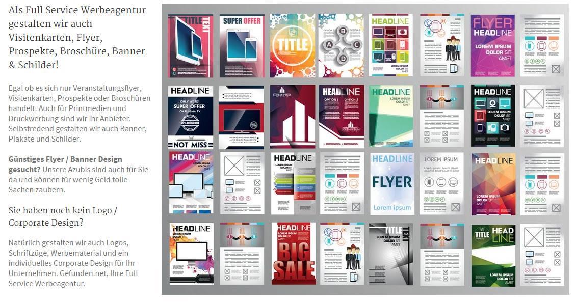 Vistenkarten, Printdesign, Printmedien, Druckwerbung: Werbe Banner mit Logo und Prospekte - Erstellung, Druck und Design