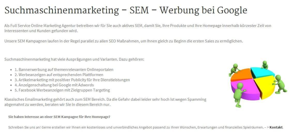 Suchmaschinen-Marketing, SEM und Suchmaschinen Werbung