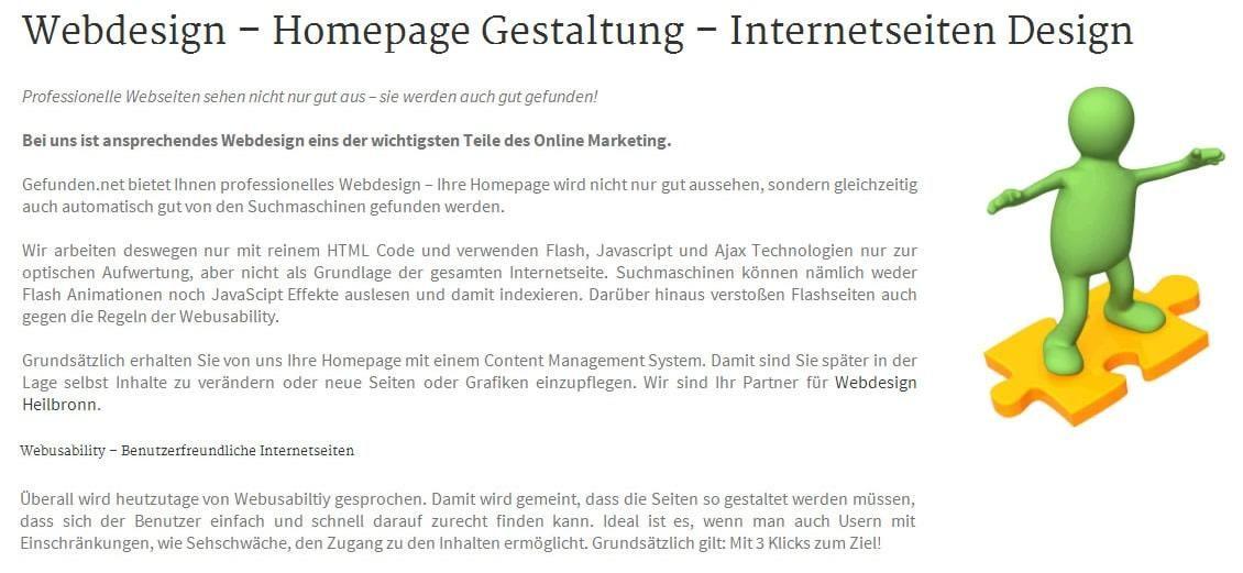 Webdesign, Webdesigner: Homepage Design, Internetseiten Programmierung - Gefunden.net Heilbronner Werbeagentur